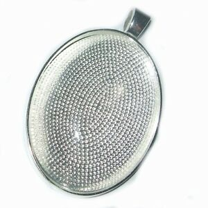 Large oval antique or bright silver cabochon pendant settings tray image is loading large oval antique or bright silver cabochon pendant aloadofball Images