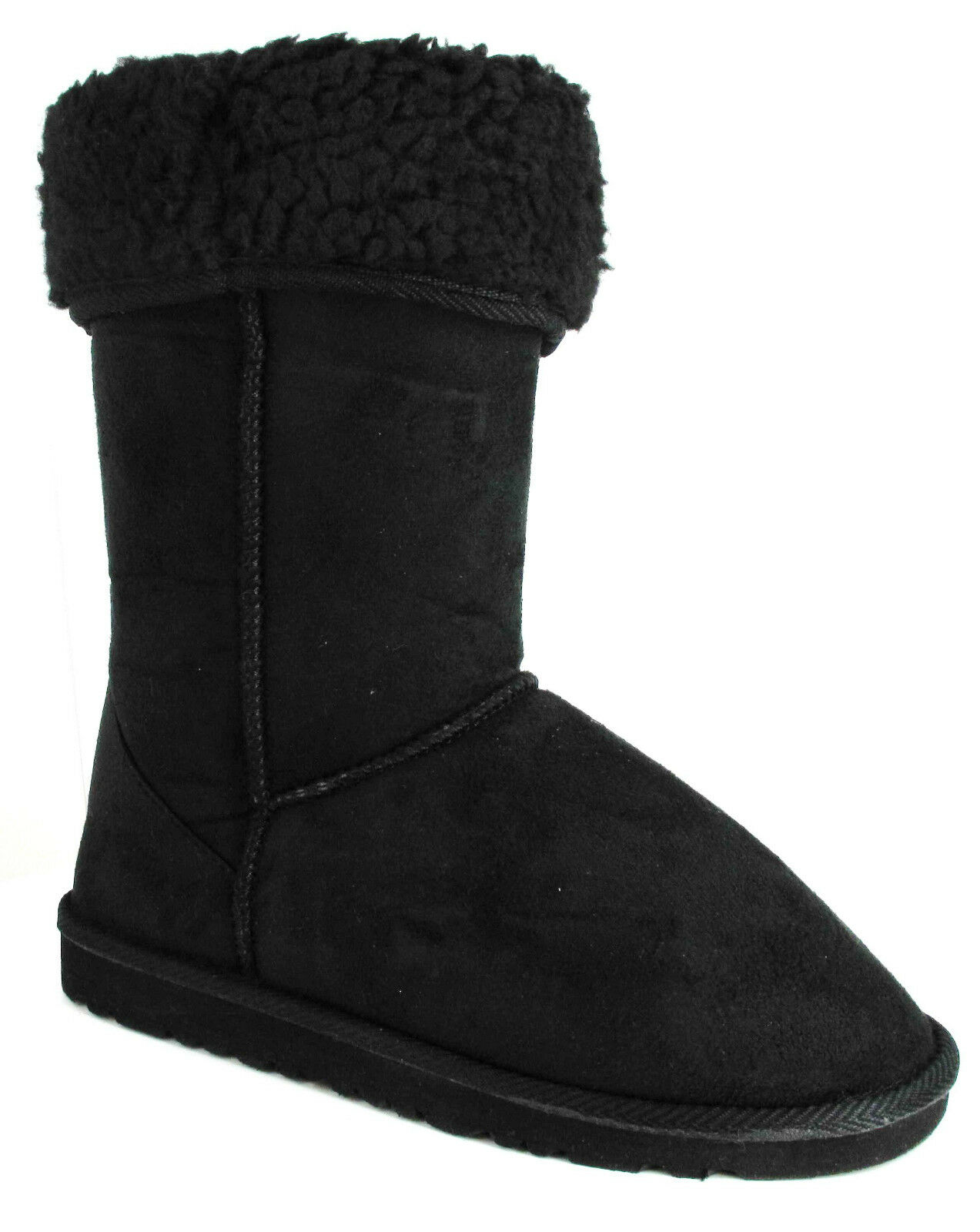 NEW WOMENS LADIES BLACK MID CLAF FAUX SUEDE FUR LINED WINTER BOOTS SIZE UK 888
