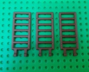 NEW-Lego-Ladder-Large-Brown-2x6-Ladders-w-Clips-Castles-Farms-Sheds-3-pieces