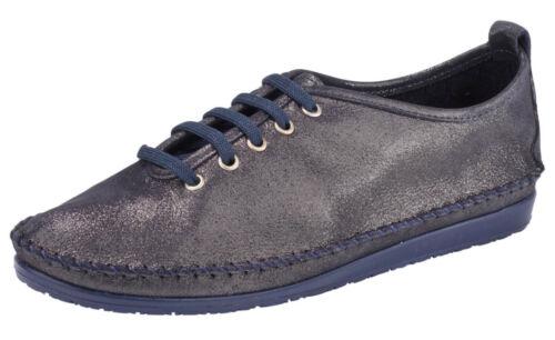 Andrea Conti Schnürer Schuh 36 37 39 43 Leder Marine Blau Metallic Mokassin NEU