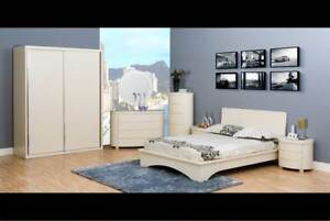 Clearance Deco Wardrobe Bed Quality Bedroom Furniture In High Gloss Cream Ebay
