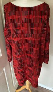 Marina-kaneva-Tunic-Dress-Uk-18-Loose-Stretchy-Cols-Shoulder-Red-Black