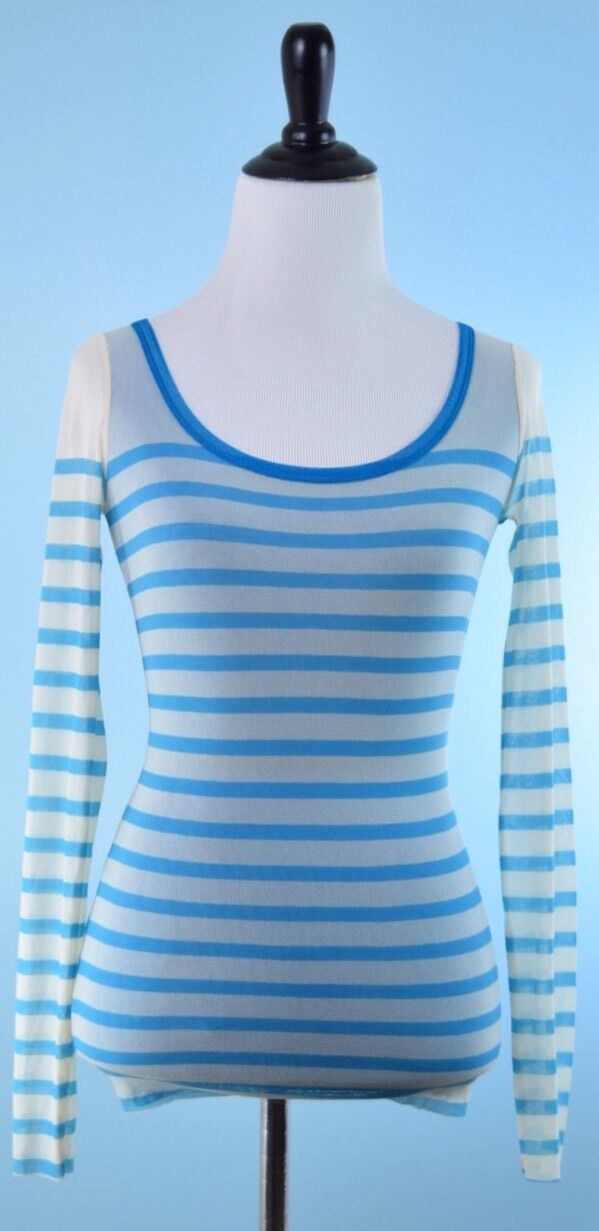 JEAN PAUL GAULTIER  NWT SOLEIL Blau Weiß Long Sleeve Nylon Stripe Top S