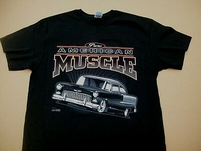 Chevy T Shirts >> 1955 Chevrolet Bel Air 150 210 T Shirt Pure American Muscle Car 55 Chevy Nomad Ebay