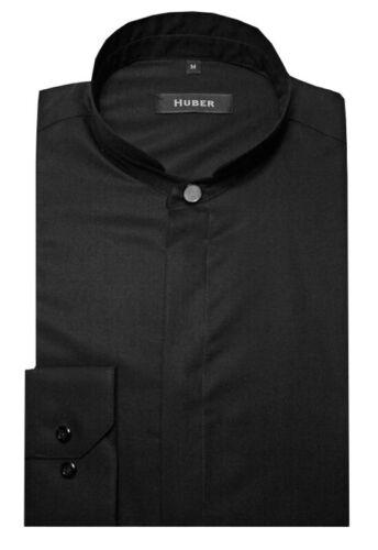 Huber col montant Chemise Noir Haute Asia col Made in Europe hu-0075 Regular