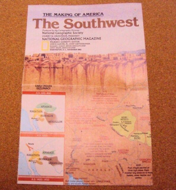 National Geographic Magazine November 1982 Map The Making Of America Southwest
