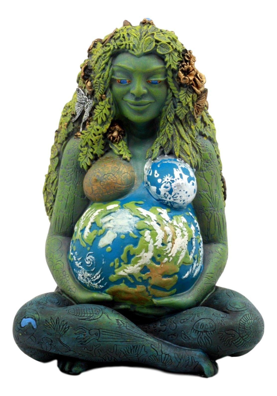 New Millennial Gaia - Mother Earth Goddess Statue by Oberon Zell - Grün Woman