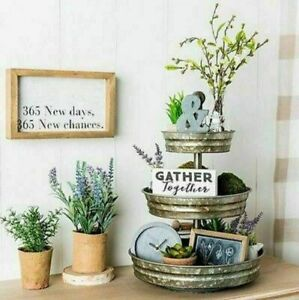 Three-Tiered-Rustic-Galvanized-Metal-Round-Farm-Vintage-Style-Storage-Stand