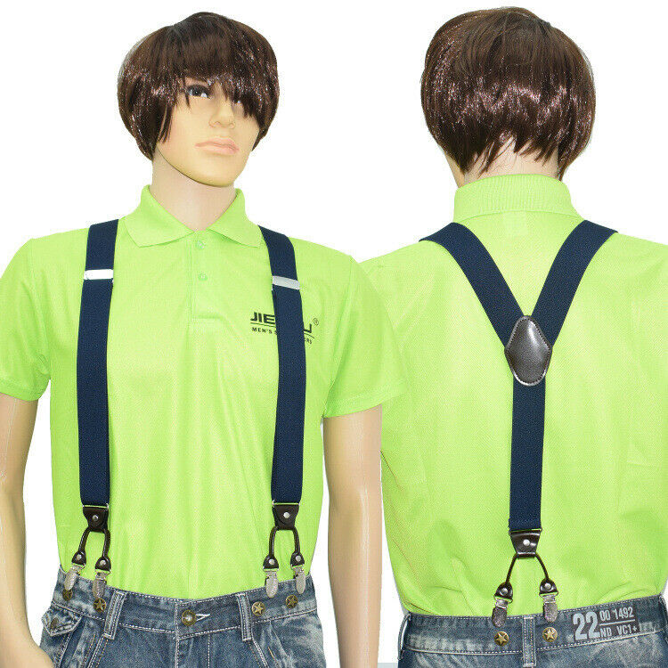 UK 35mm 6 Clips Plain Men's Braces Y-Shape Suspenders Heavy Duty Adjustable Gift