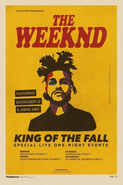 THE WEEKND King Of The Fall Rap Music Singer Tour Hot Poster K-1295