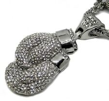 Iced out 3D Boxing Gloves Pendant with Hiphop Bling Chain