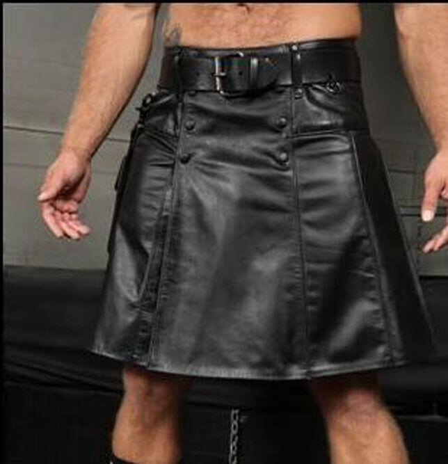 Mens Real Leather Pleated Kilt Clubwear Kilt With Box Pocket+ FREE LEATHER BELT