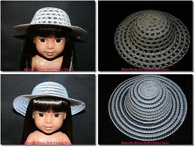 "White Straw Flower Hat Bonnet 14/"" Doll Clothes Fit American Girl WellieWishers"