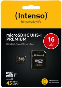 Intenso-Micro-SDHC-Karte-16GB-Speicherkarte-UHS-I-Premium-45-MB-s-Class-10