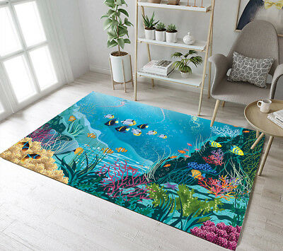 Soft Floor Mat Underwater Tropical Fish Coral Reef Bedroom Living Room Area Rug