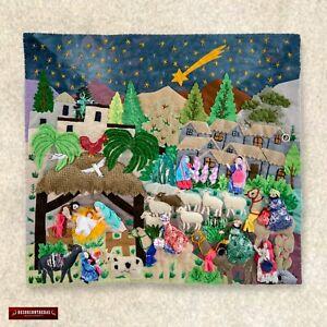 Christmas Wall Hanging Quilt 17 7 X19 7 3d Peruvian Textile Artwork Christmas Ebay