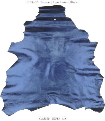 Lammleder Blau Antik Metallic Design 0,8 mm Dick Echt Leder Leather Fell L104