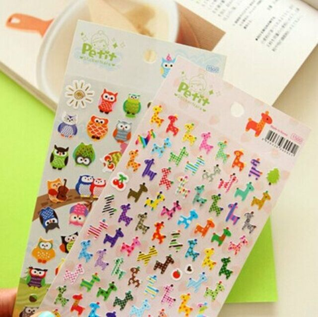 1 x colourful owl / Deer  Novelty Craft Scrapbook Card DIY Accessory Stickers