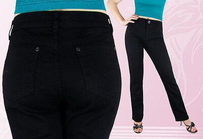 Jeans Donna Pantaloni Jeans Pantaloni Misure Grandi Gamba Dritta Nero - 48 52 56 -- Alta Qualità E Poco Costoso