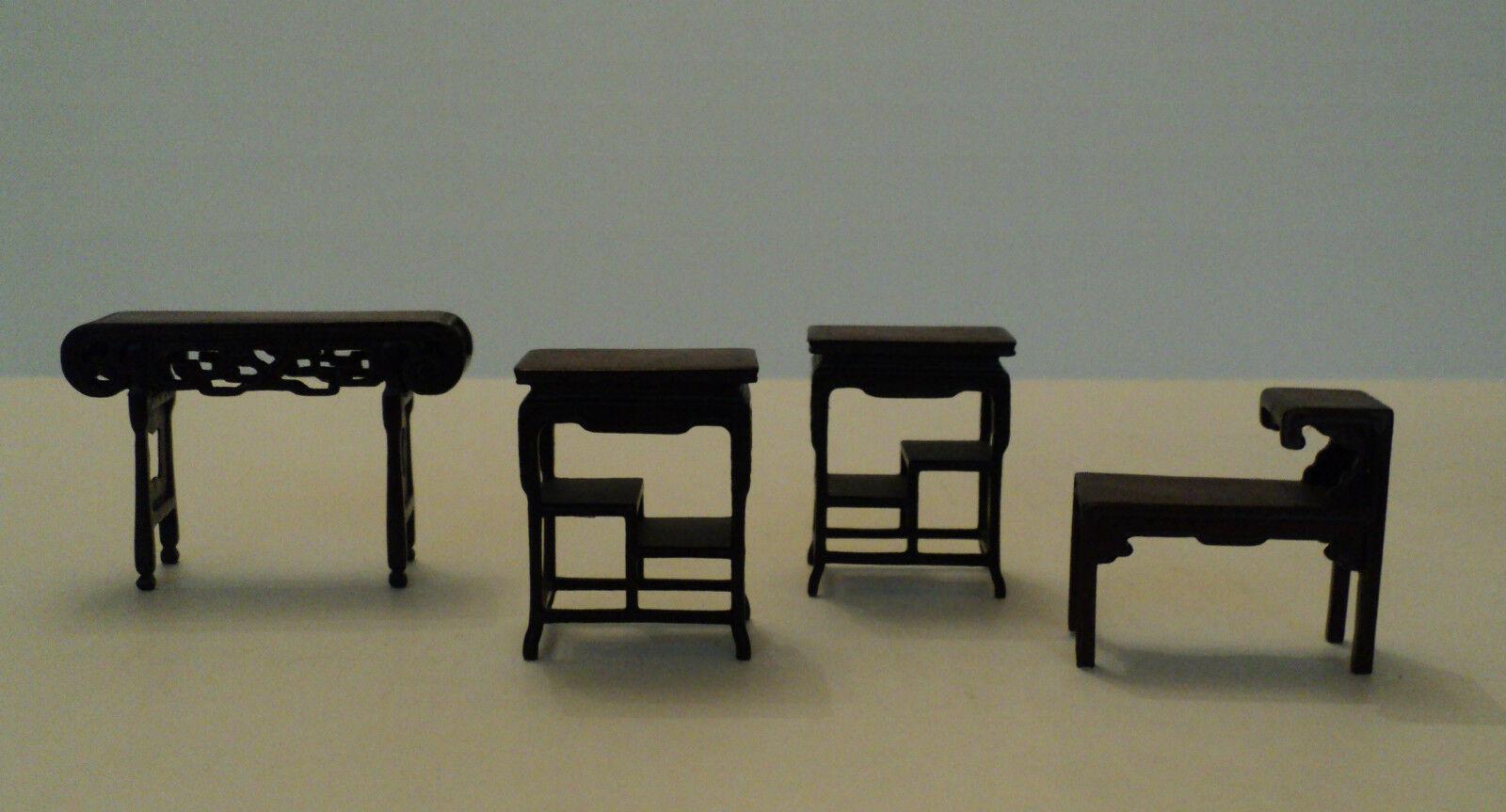 Vintage 4-pc. Miniatura Dollhouse Muebles, Diseño Oriental acento Tablas
