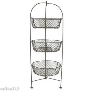 Lovely Image Is Loading Standing 3 Tier Wire Metal Basket Fruit Vegetable