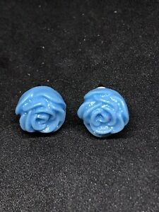 Vintage Style Sparkly Blue Rose Earrings. Women's Blue Glitter Flower Earrings