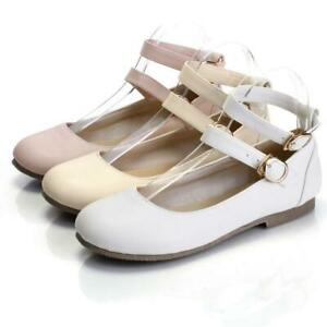 Women-039-s-Sweet-Ankle-Strap-Flat-Lolita-Casual-Oxford-Mary-Jane-Pump-Ballet-Shoes