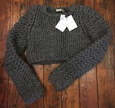 BALENCIAGA Nicolas Ghesquière Runway Grey Cropped Chunky Knit Sweater sz 38 NWT