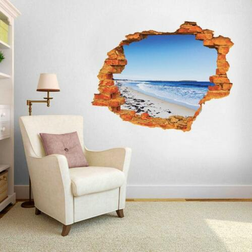 Sea Ocean Beach Sky Nautical Nature Smashed 3D Wall Stickers Photo Mural Decal