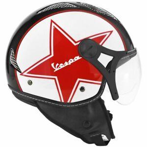 CASCO-JET-HELIOS-STAR-BIANCO-NERO-ROSSO-STELLA-LOGO-VESPA-ET3-PX-SUPER-GTS-LX-X