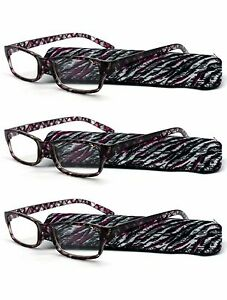 3 Pack Purple Frame Readers Fashion Reading Glasses with Slim Soft Sleeve Cases