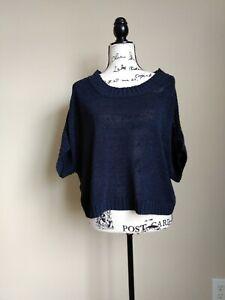 Ann-Taylor-navy-blue-short-sleeve-boxy-knit-top-size-M