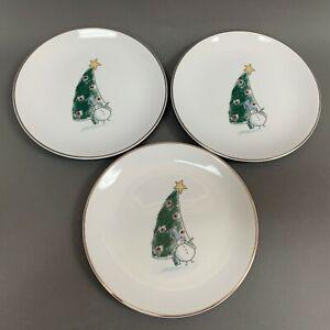 Eddie-Bauer-Salad-Plates-Snowman-Snowmen-Platinum-Trim-White-8-1-4-Lot-of-3