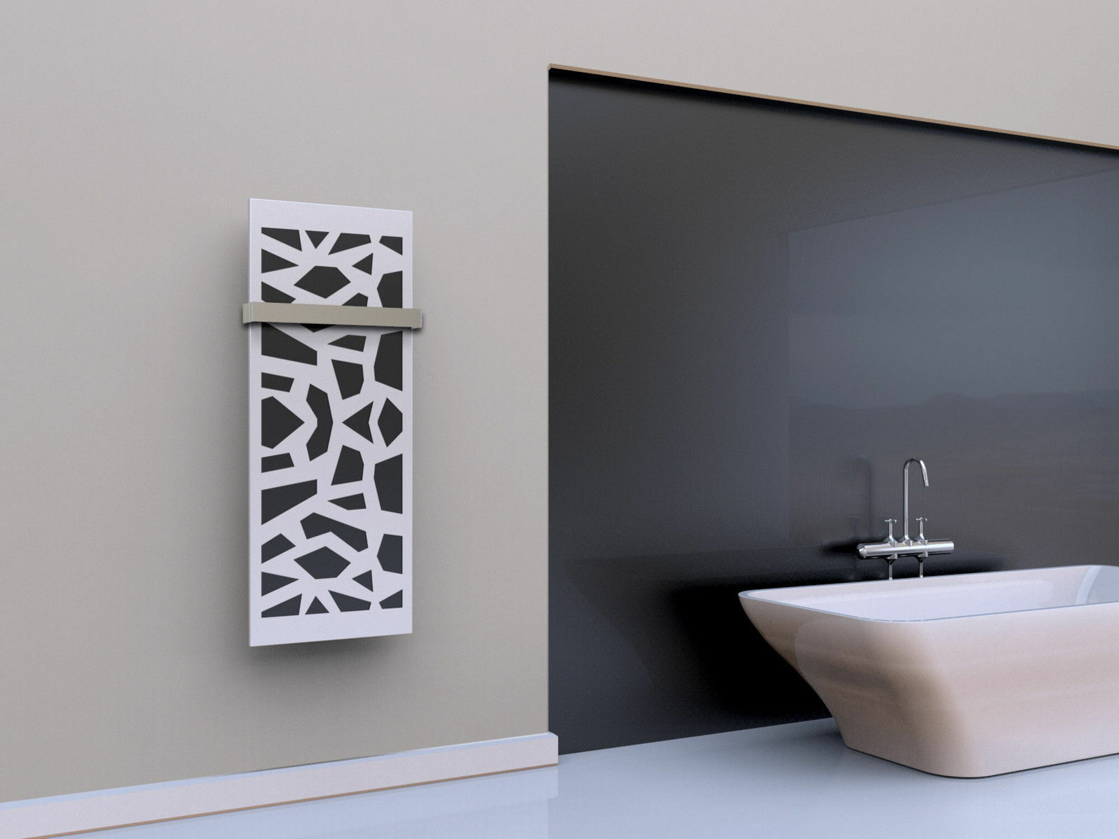 Badheizkörper Design Mosaik Mosaik Mosaik 2: 120x47 cm, silber/weiß + Handtuchhalter breit 08de59