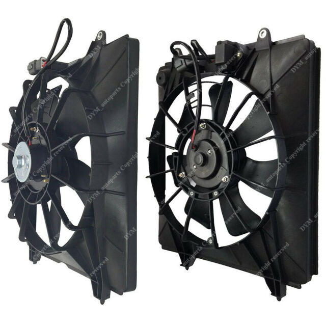 1x Black AC Condenser Radiator Cooling Fan Assembly For 07-09 Honda CR-V 2.4L