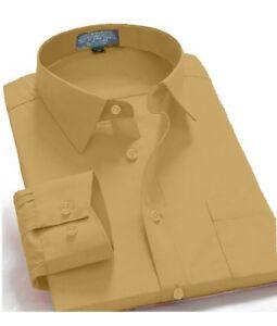 Men-039-s-Regular-Fit-Long-Sleeve-French-Cuff-One-Pocket-Casual-Dress-Shirt-Mustard