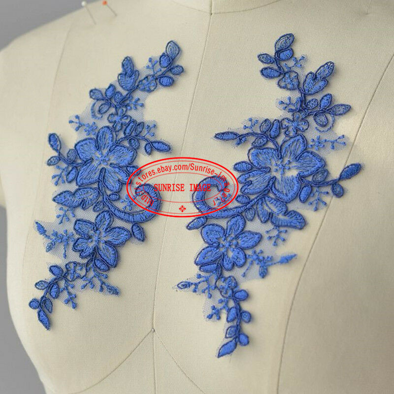 2PC,Flower Motif Fabric Embroidered tulle Lace Sewing Applique Dress Decor FL180