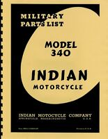 Indian Motorcycle Wwii 74 Chief Mod 340 Parts List Manual Reprnt