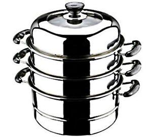 "FOOD STEAMER Stainless Steel Cooker 30 cm / 11.8"" XLARGE 3 Tier HOME RESTAURANT"