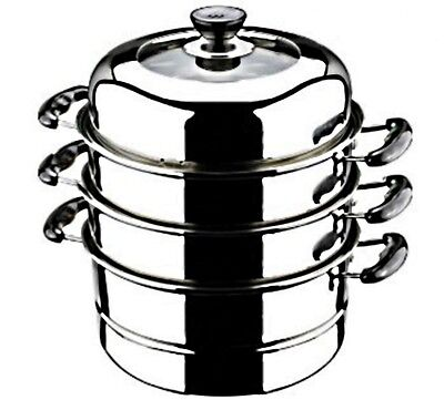 "FOOD STEAMER Stainless Steel Cooker 30 cm / 11.8"" XLARGE 3 Tier HOME RESTAURANT"