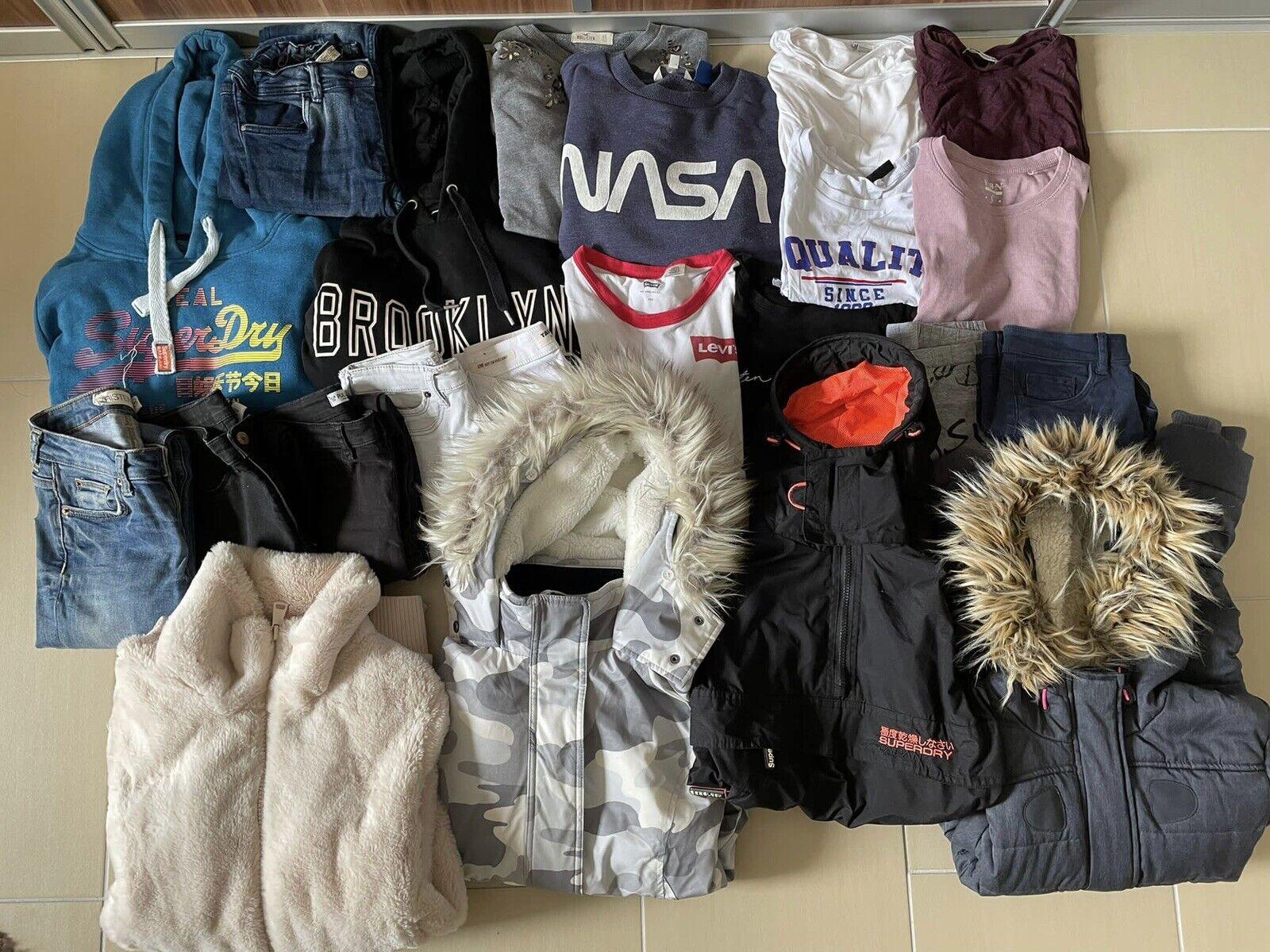 Super Kleiderpaket Marken Damen Gr. XS, S Superdry, Hollister, 22 Teile