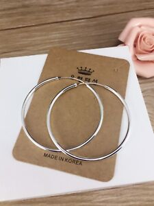 Image Is Loading 925 Sterling Silver Hoop Earrings Clic Sleeper Large