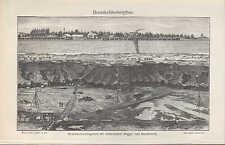 Lithografie 1905: Braunkohle-Bergbau. Erzbergbau. Elektrischer Betrieb. Schacht