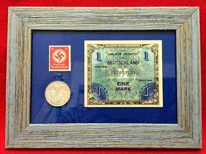 World-War-II-Allied-Miltary-UNC-1944-Bill-amp-2-Mark-Silver-Coin-amp-Unused-Stamp