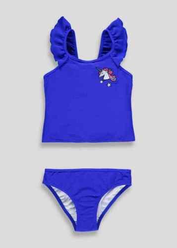 Girls BNWT blue frill waffle tankini Swimwear Matalan Holiday 8 9 10 11 12 13 AZ
