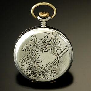 Sterling Silver Elgin Pocket Watch 16 Size 7 Jewel CA1909
