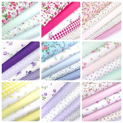 Fat quarters pack 5 en polycoton tissu Craft Sew floral roses vichy bunting