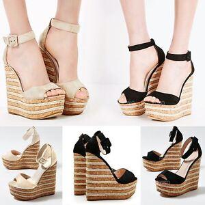 6b4277b5fa74 Image is loading Womens-Ladies-High-Heel-Platform-Wedge-Summer-Sandals-