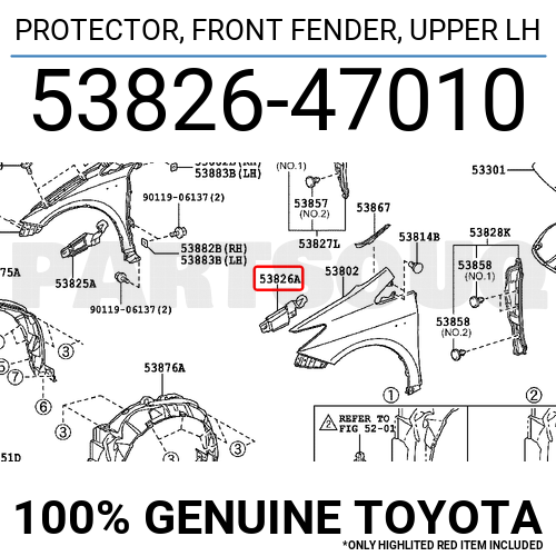 Genuine Toyota 53825-47010 Fender Protector