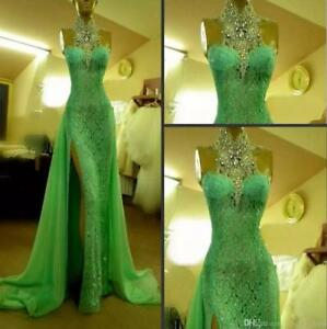 Mermaid-Crystal-Lace-Split-Celebrity-Pageant-Evening-Dress-Long-Party-Prom-Gown